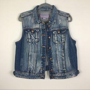 Jean vest distressed XL cotton